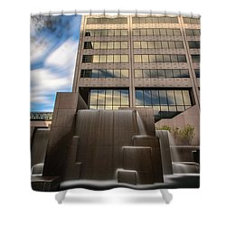 Shower Curtain featuring the photograph Northwestern Mutual Waterfall by Randy Scherkenbach
