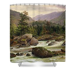 Norwegian Waterfall Shower Curtain by Thomas Fearnley