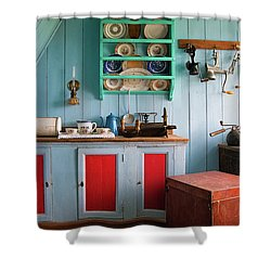 Shower Curtain featuring the photograph Nostalgia - Lovely Blue Kitchen by Matthias Hauser