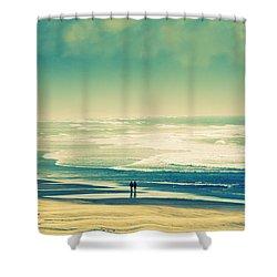Nostalgic Oceanside Oregon Coast Shower Curtain