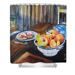 Not Just Tea And Scones - Qcwa Toowoomba 90 Years Shower Curtain by Therese Alcorn
