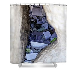 Notes In The Wailing Wall  Shower Curtain by Yoel Koskas