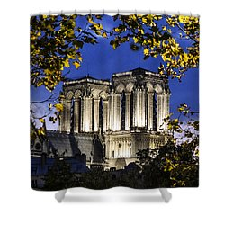 Notre Dame At Night Paris Shower Curtain