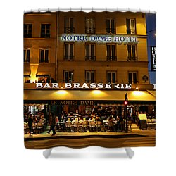Shower Curtain featuring the photograph Notre Dame Cafe by Andrew Fare