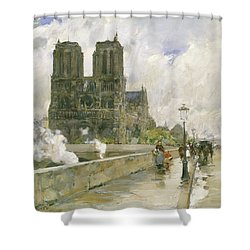 Notre Dame Cathedral - Paris Shower Curtain by Childe Hassam