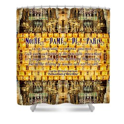 Notre-dame Cathedral Rose Stained Glass Candles Novel Quote Shower Curtain