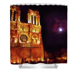 Notre Dame In The Autumn Moonlight Shower Curtain