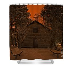 Notre Dame Log Chapel Winter Night Shower Curtain by John Stephens