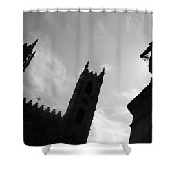 Shower Curtain featuring the photograph Notre Dame Silhouette by Valentino Visentini