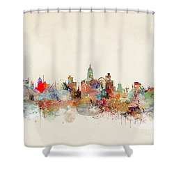 Shower Curtain featuring the painting Nottingham City Skyline by Bri B