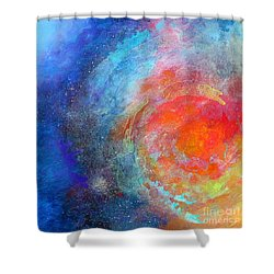 Fantasies In Space Series Painting. Nova Concerto. Acrylic Painting. Shower Curtain