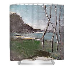 Shower Curtain featuring the painting November by Becky Kim