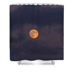 November Full Moon With Plane Shower Curtain by Angela A Stanton