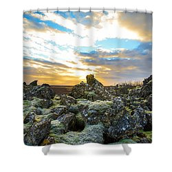 Shower Curtain featuring the photograph November Light Over Icelandic Lava Field by Alex Blondeau