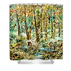 Shower Curtain featuring the painting November Morn by Alfred Motzer