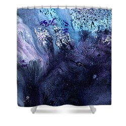 November Rain - Contemporary Blue Abstract Painting Shower Curtain