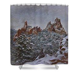 Shower Curtain featuring the photograph November Snow - Garden Of The Gods by Ellen Heaverlo