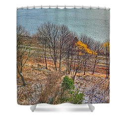 November Snow On Casco Bay Shower Curtain