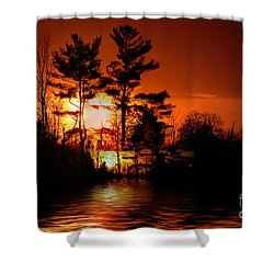 November Sunset Shower Curtain by Elaine Hunter