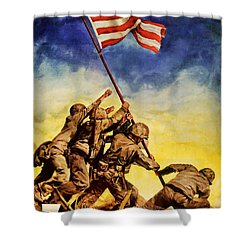 Now All Together Vintage War Poster Restored Shower Curtain