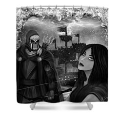 Now Or Never - Black And White Fantasy Art Shower Curtain