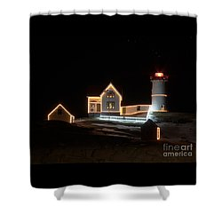 Nubble At Night Shower Curtain