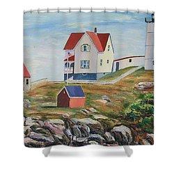 Nubble Light House Maine Shower Curtain by Richard Nowak