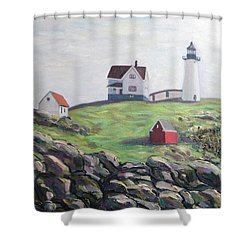 Nubble Light House Shower Curtain by Richard Nowak