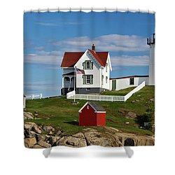 Nubble Lighthouse - D002365 Shower Curtain by Daniel Dempster