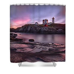 Nubble Lighthouse At Sunrise York Me Shower Curtain