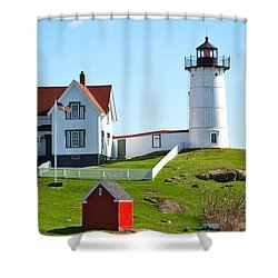 Nubble Lighthouse Shower Curtain by Eric Tressler