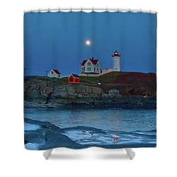 Shower Curtain featuring the photograph Nubble Lighthouse Lit For Christmas by Jeff Folger