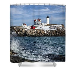Nubble Lighthouse Winter Shower Curtain
