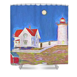 Nubble Lighthouse With Moon Shower Curtain