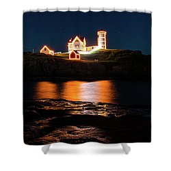 Shower Curtain featuring the photograph nubble Lighthouse, York Maine by Jeff Folger