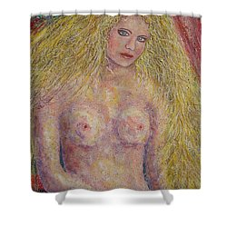 Shower Curtain featuring the painting Nude Fantasy by Natalie Holland