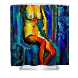 Nude Female Figure Portrait Artwork Painting In Blue Vibrant Rainbow Colors And Styles Warm Style Undersea Adventure In Blue Mythology Siren Women And Not Sensual Shower Curtain by MendyZ