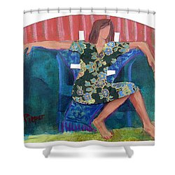 Shower Curtain featuring the painting Nude In Paper Doll Dress by Betty Pieper