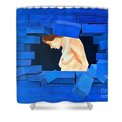 Nude Lady Through Exploding Wall Shower Curtain