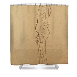 Nude Man Shower Curtain by Gustav Klimt