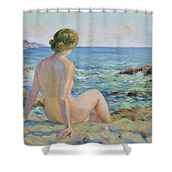 Nude On The Coast Monaco Shower Curtain by Pierre Van Dijk