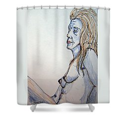 Nude With Blues Shower Curtain by Rand Swift