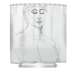 Nude With Eyes Closed Shower Curtain by Rand Swift