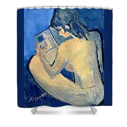 Nude With Nose In Book Shower Curtain