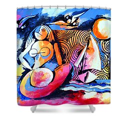Nude Woman And Sailboat Shower Curtain