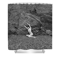 Nude Woman Pulling Shape By Rocks Shower Curtain