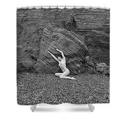 Nude Woman Pulling Shape By Rocks Shower Curtain