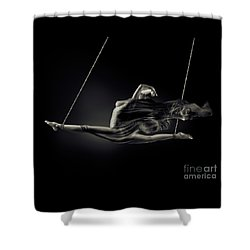 Nude Woman Swinging In Splits In The Air With Bondage Rope And F Shower Curtain