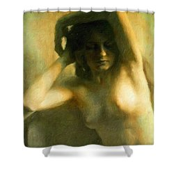 Nude Woman Shower Curtain by Vincent Monozlay