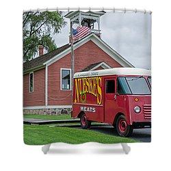 Nueske Meat Store Shower Curtain by Susan  McMenamin